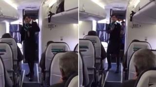 La hostess balla Uptown Funk: i passeggeri impazziscono :-)