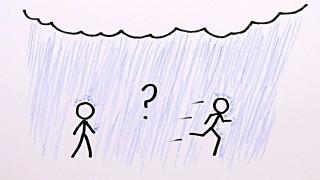 Se piove, ci si bagna di meno correndo o camminando?