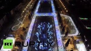 Col drone sopra la pista di ghiaccio più grande del mondo