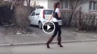 Una camminata sui tacchi non proprio esemplare…