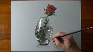 Una rosa rossa in un vaso di vetro che sembra più vera di quelle vere