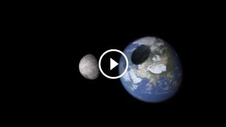 Simulazione della Luna che colpisce la Terra